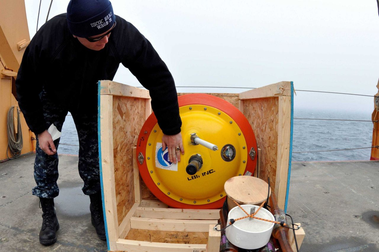 NOAA ice buoy being readied for deployment. Photo