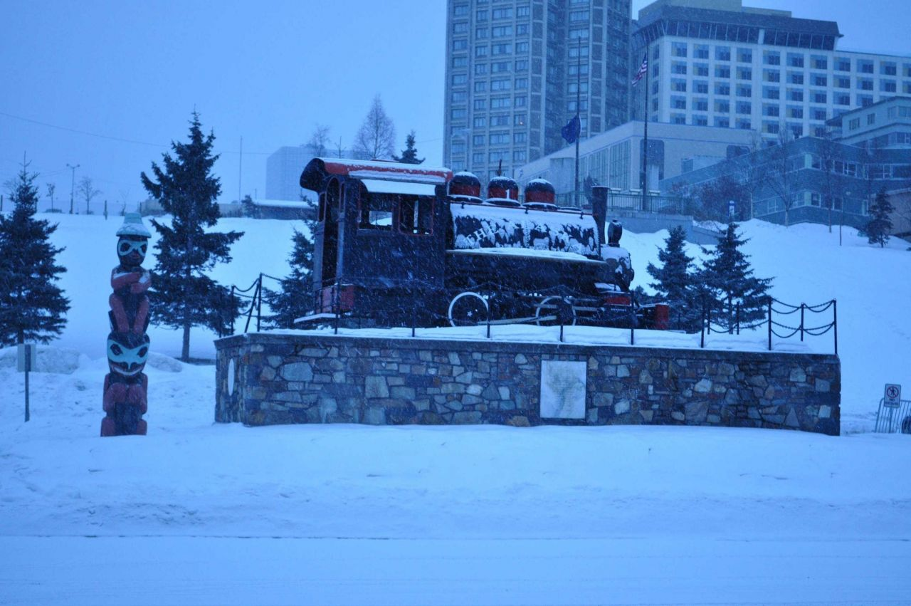 Alaska Railroad memorial at Anchorage Photo