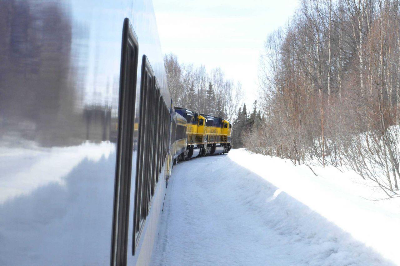 A scene along the Alaska Railroad Aurora Winter Train. Photo