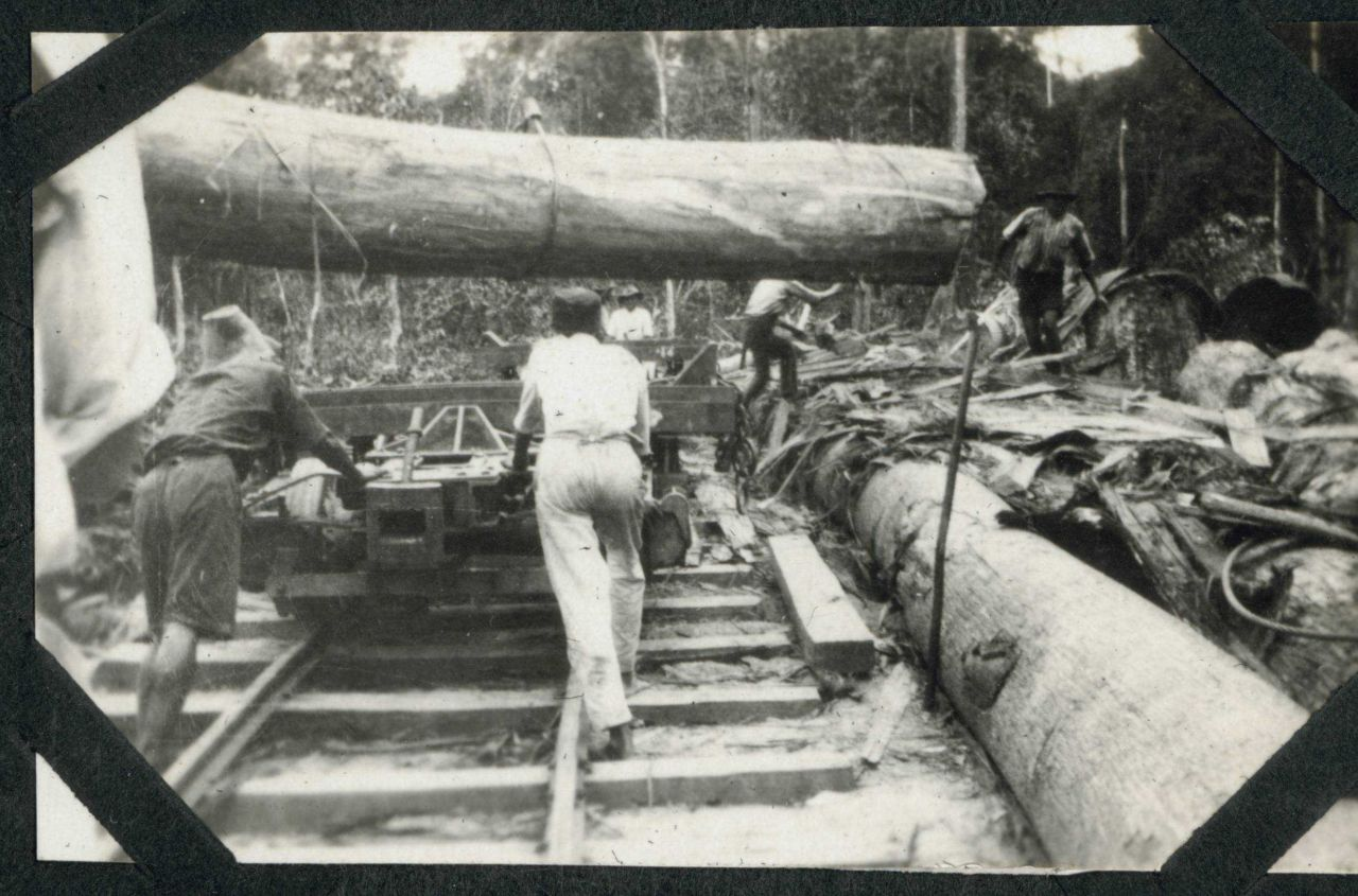 A huge log being placed on a railroad car at Batottan, British North Borneo. Photo