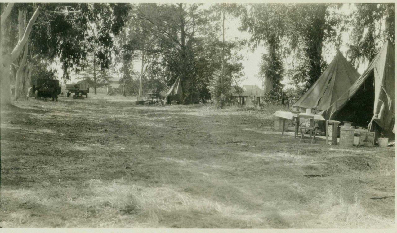 Camp at Stockton in the San Joaquin Valley. Photo