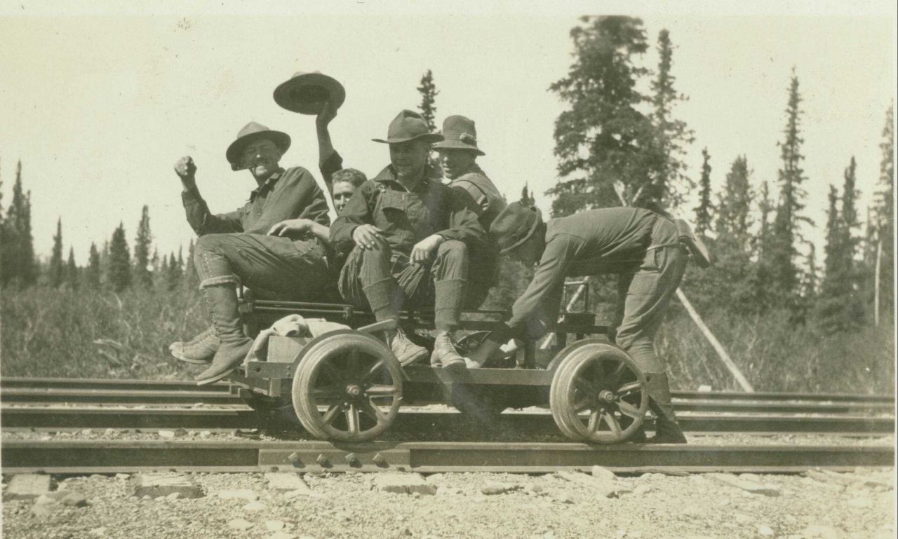 Members of triangulation crew of William Scaife in the interior of Alaska on a velocipede between Anchorage and Fairbanks. Photo