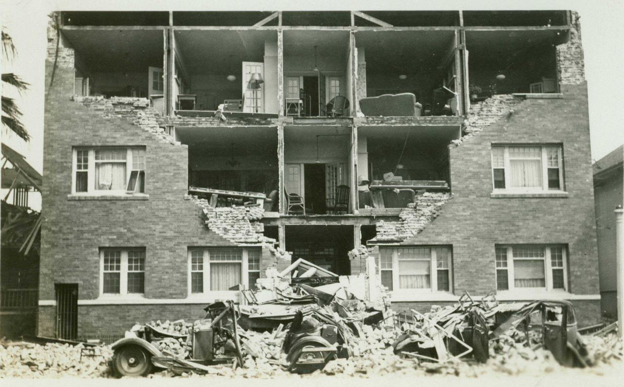 A scene in Long Beach the morning after the devastating 1933 earthquake. Photo