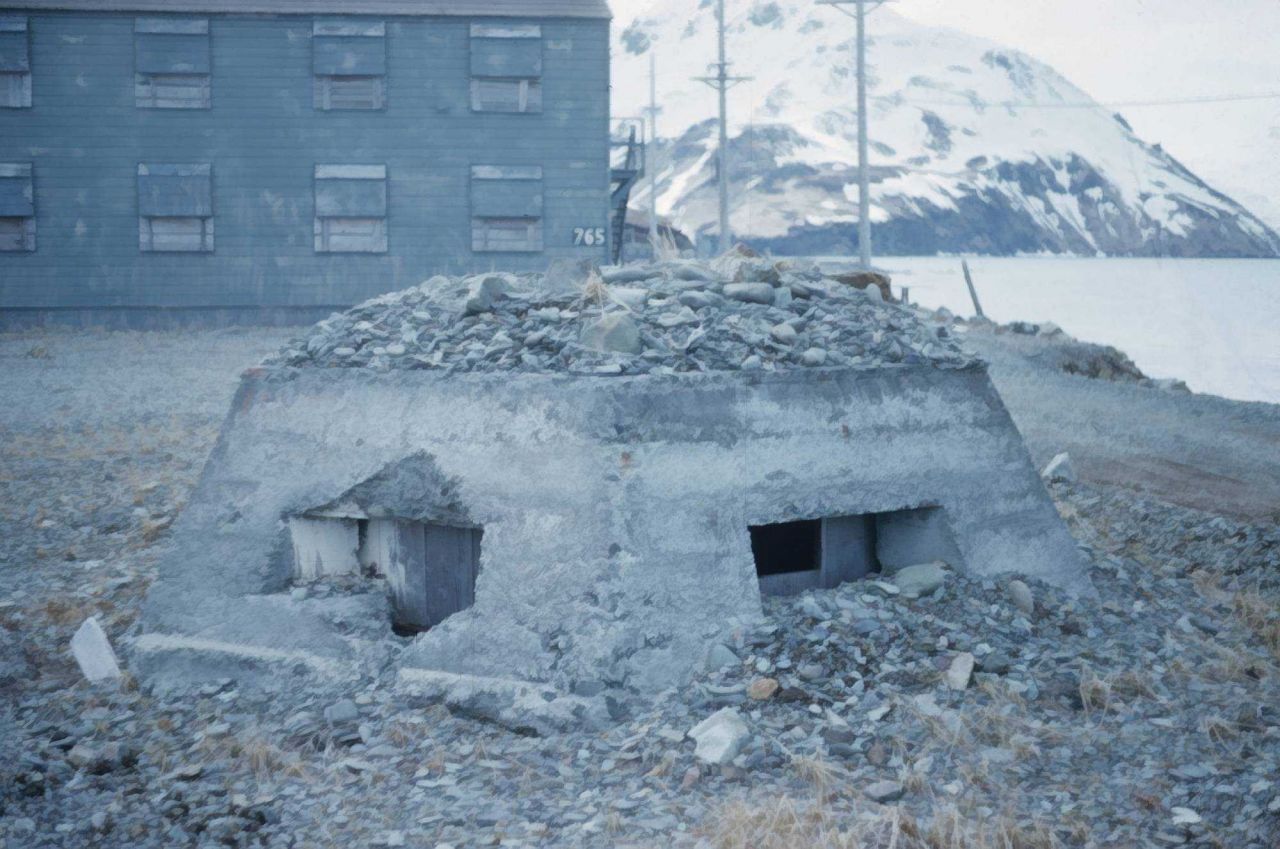 A concrete fortification at Dutch Harbor. Photo