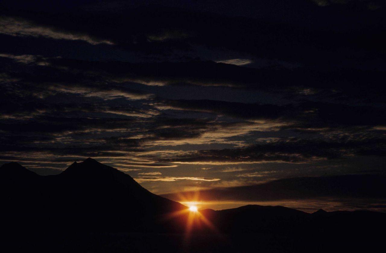 A spring dawn while approaching Adak. Photo