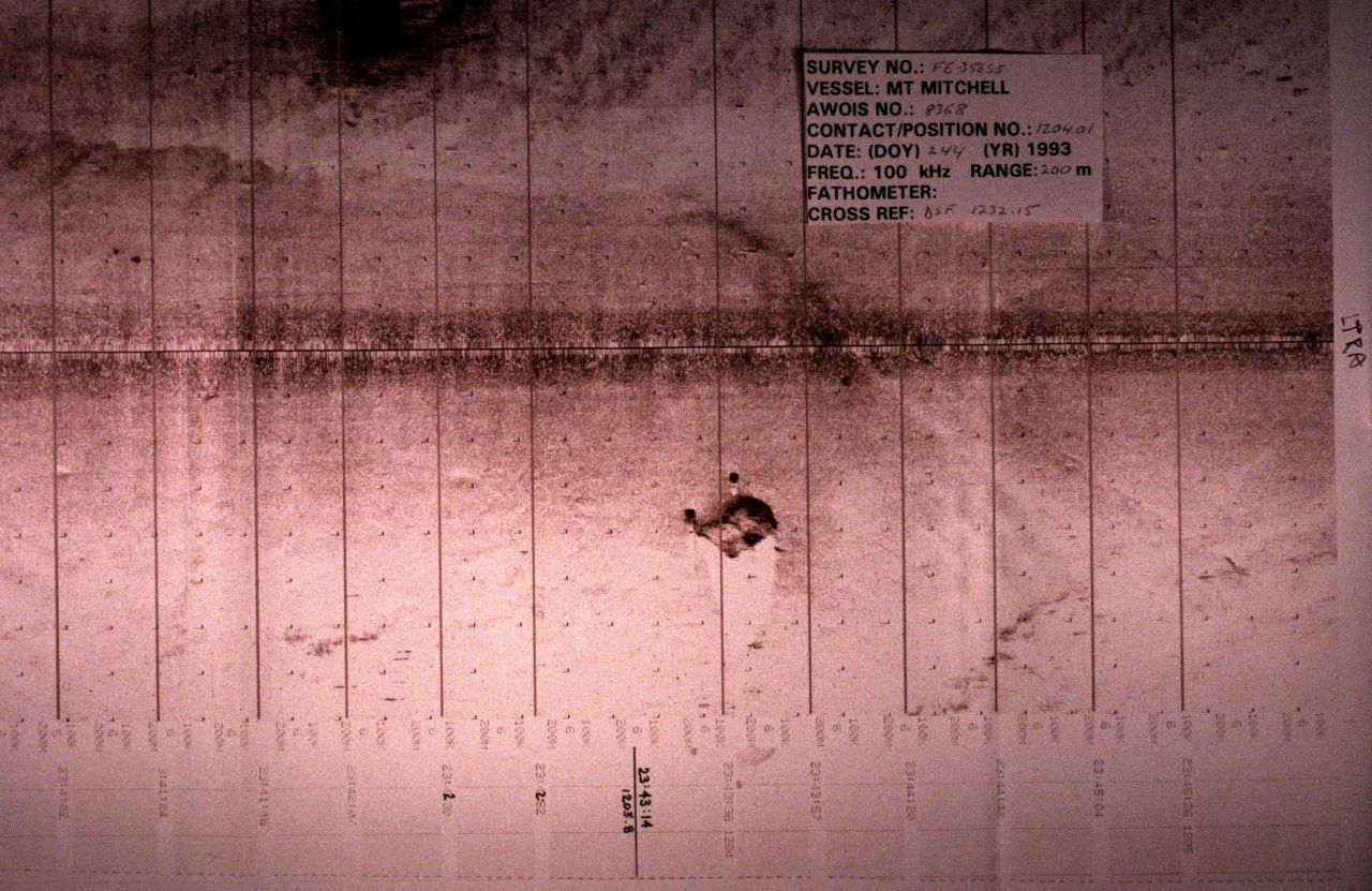 Side scan sonar record of debris or structure on seafloor. Photo