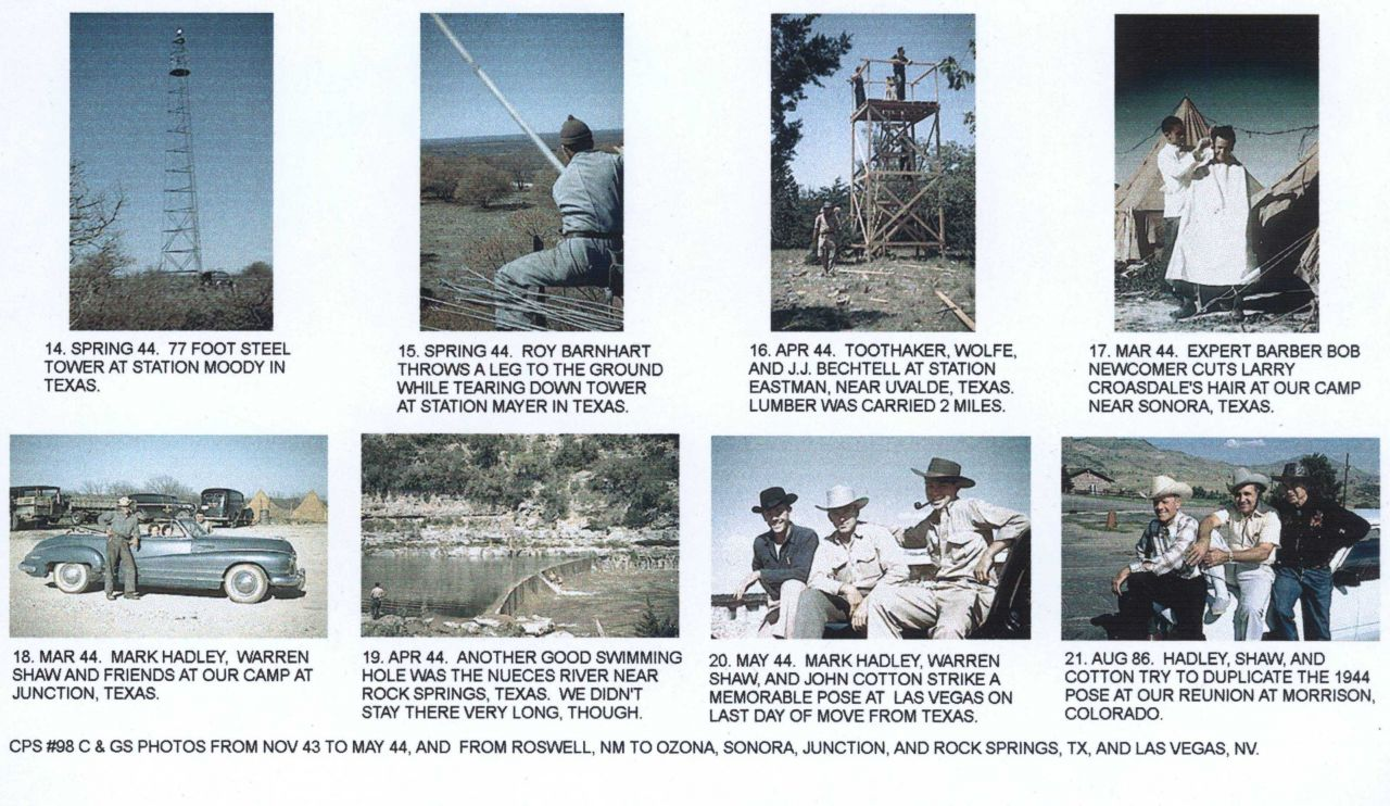 Photos from other members of CPS-98 detailing the work of a geodetic triangulation party. Photo