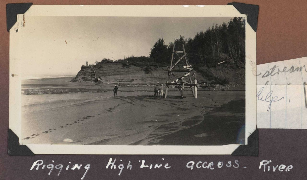 Rigging a highline across a river for transporting men and equipment. Photo