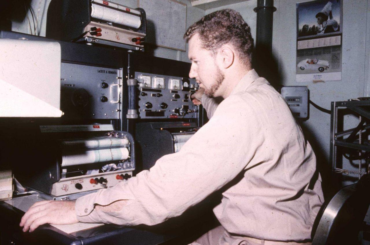 Operating Lacoste-Romberg gravity meter shipboard Photo