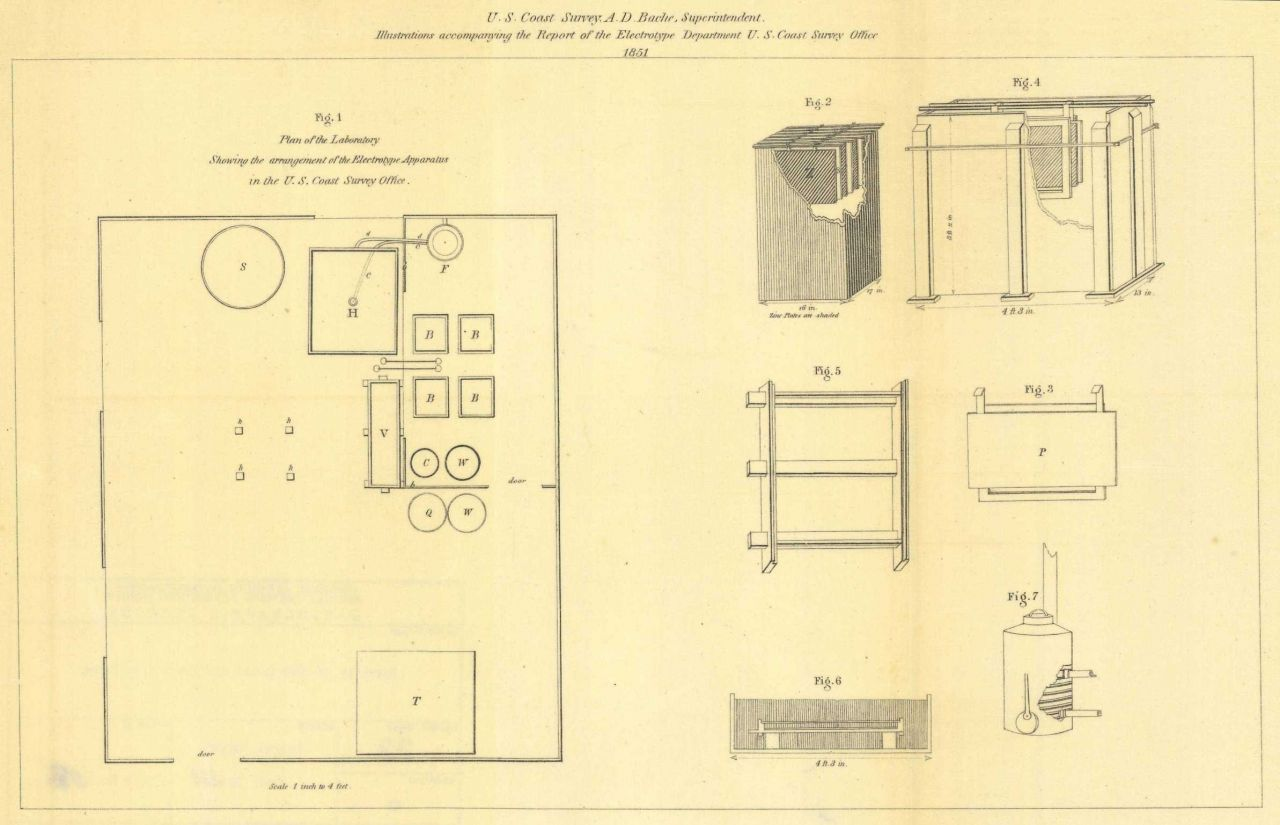 Diagram of electrotype apparatus as devised by George Mathiot of the Coast Survey Photo