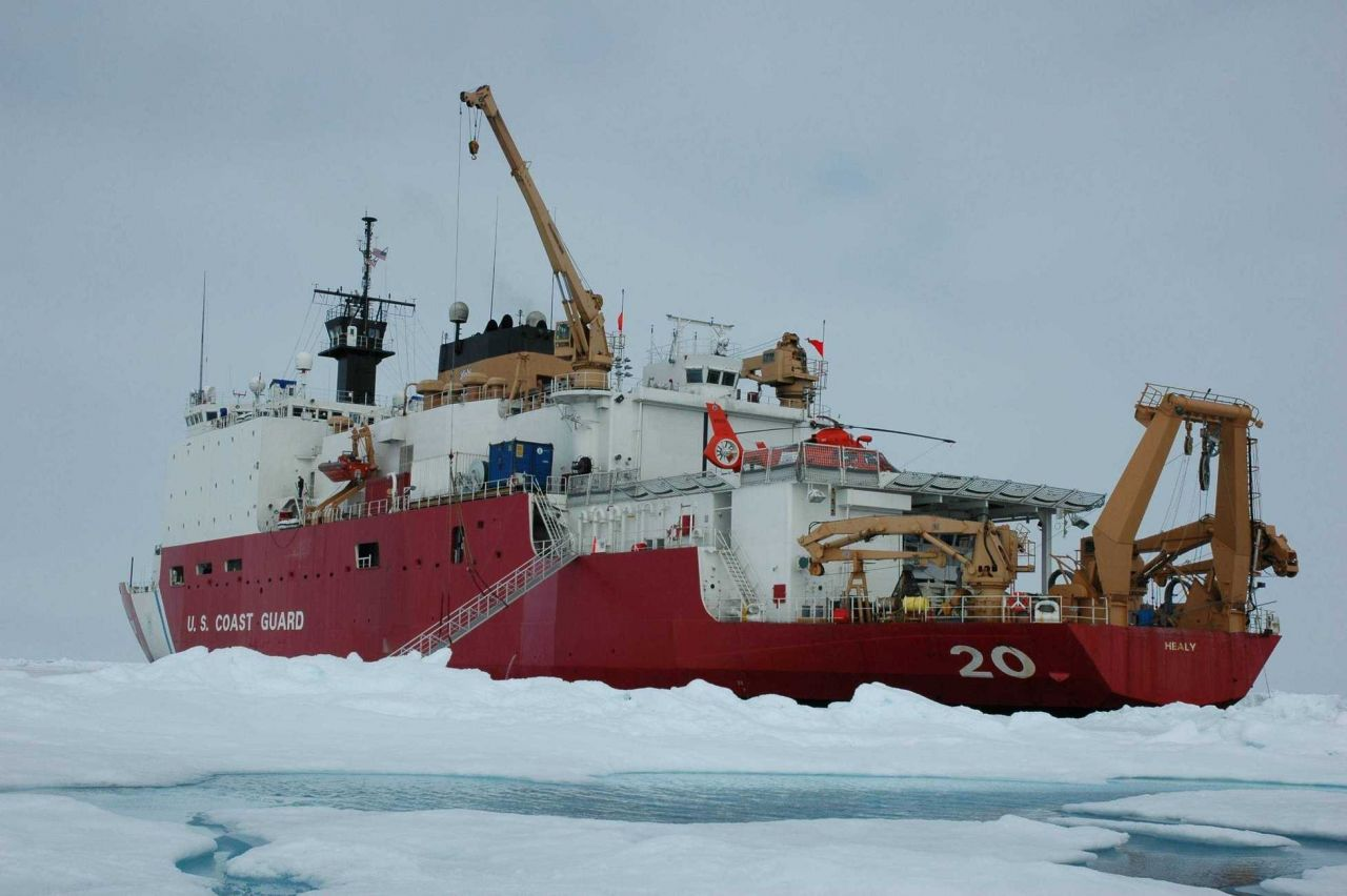 View of the US Coast Guard Cutter Healy from the ice. Photo