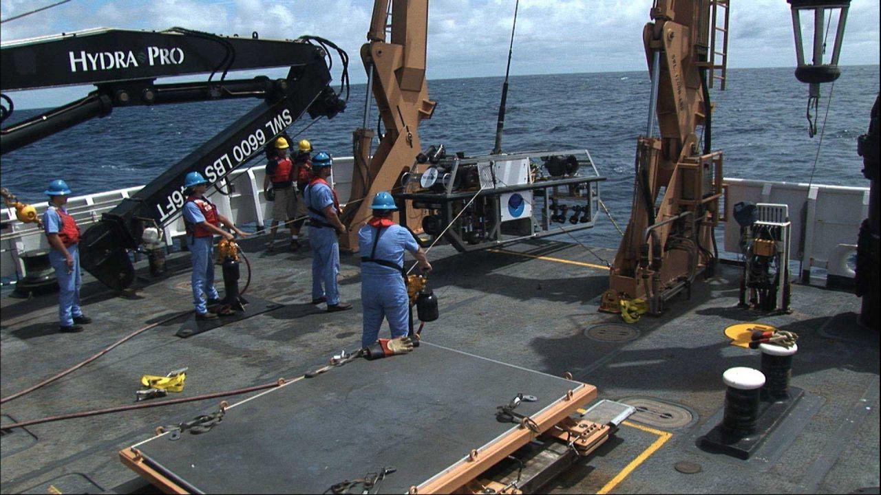 Launching Seirios from the stern of the OKEANOS EXPLORER Photo