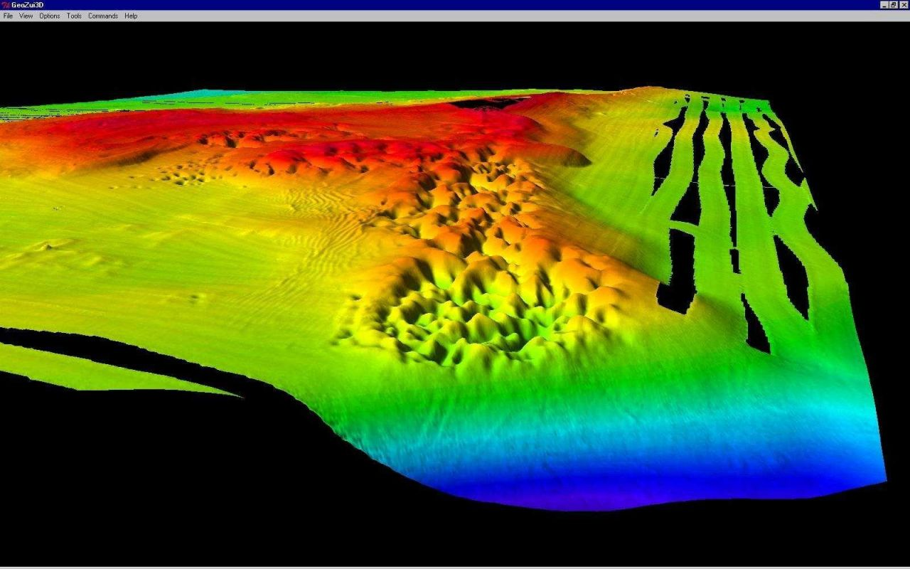 3-D multibeam imagery of north Stratford Shoal showing pockmarks similar to those found in Belfast Bay, Maine. Photo