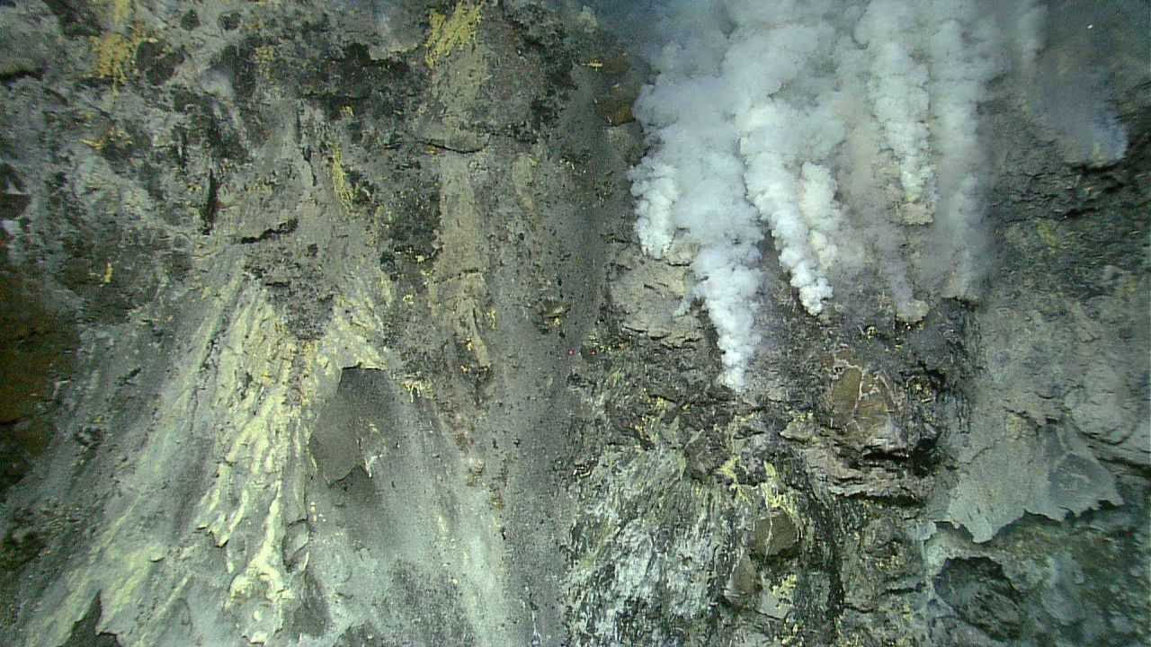 Hydrothermal vents on Kawio Barat submarine volcano spew white mineral-laden fluids Photo