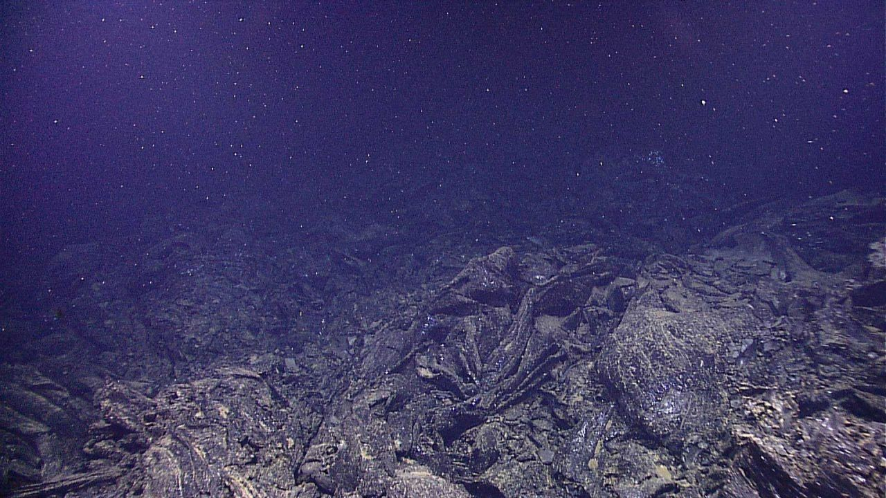 A lava collapse feature in the vicinity of a hydrothermal vent Photo