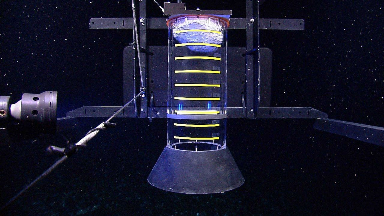 A 'methane bucket' capture device added to the front of the Little Hercules r remotely operated vehicle with gas hydrate (shiny material) at the top o Photo