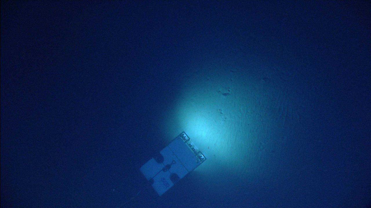 Deep Discoverer (D2) seen over ripples on a sediment bottom. Photo