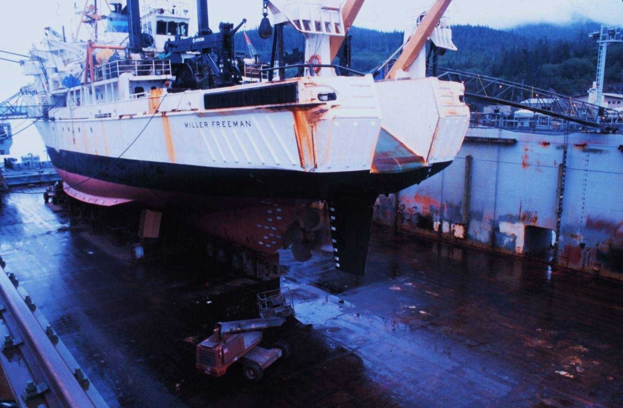 NOAA Ship MILLER FREEMAN in drydock. Photo