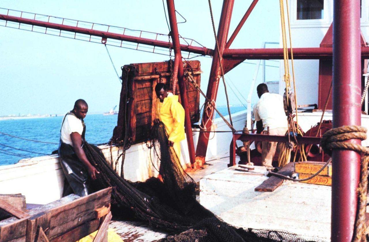 Deck scene on a shrimp trawler Photo