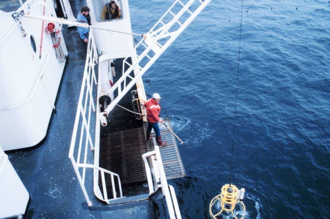 CTD rosette being deployed to study water temperature, salinity, and chemical characteristics Photo