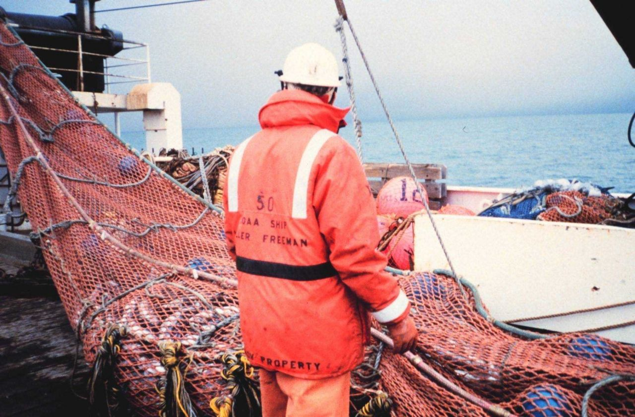 Recovering trawl during fish stock assessment surveys on the NOAA Ship MILLER FREEMAN Photo