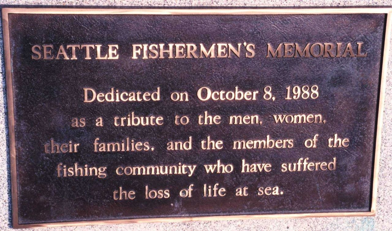 Plaque attached to Seattle's Fishermen's Memorial Photo