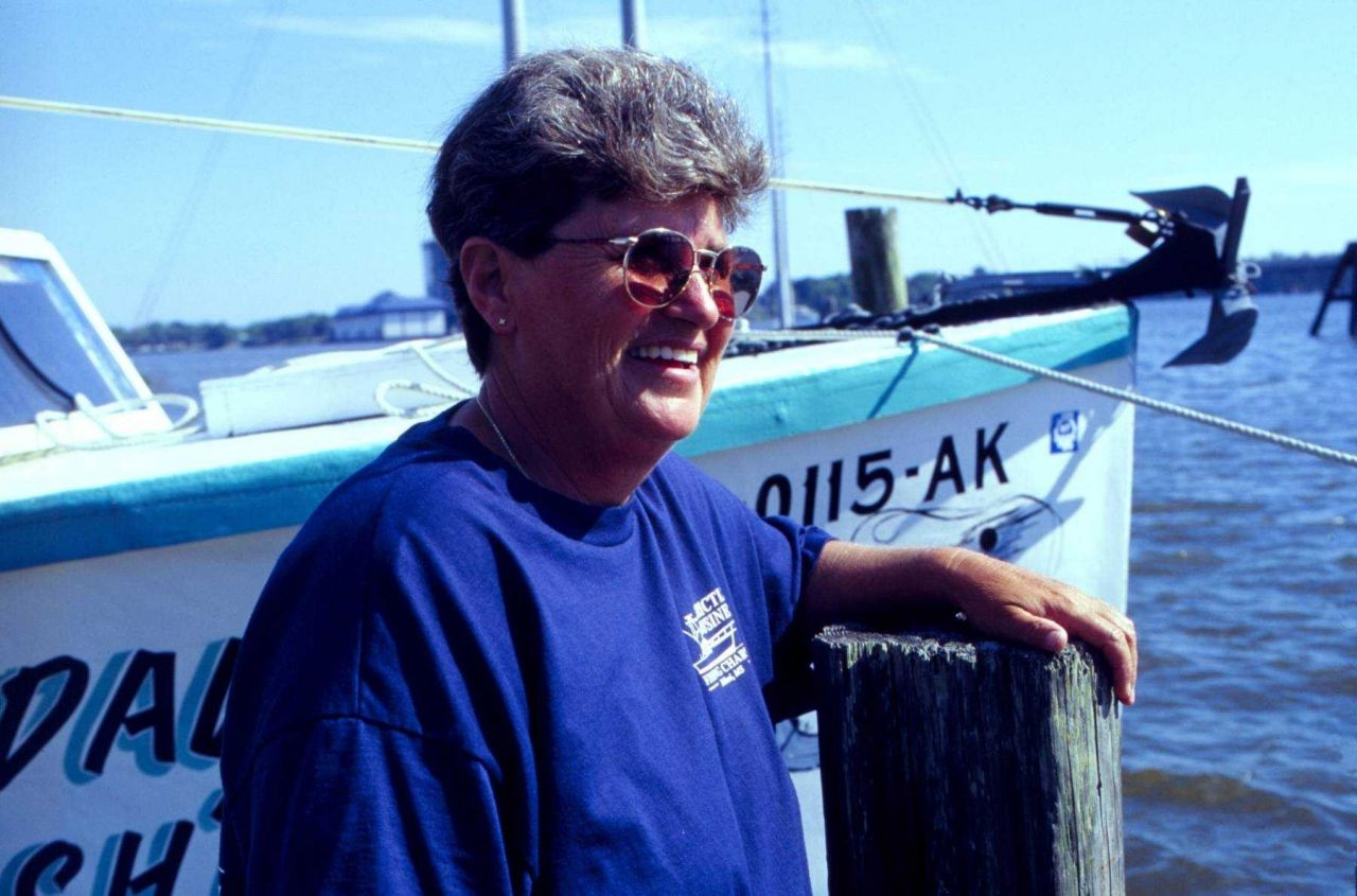 Judy David, a commercial shrimp fisherwoman who operates her own fishing vessel as well as processing and marketing her catch Photo