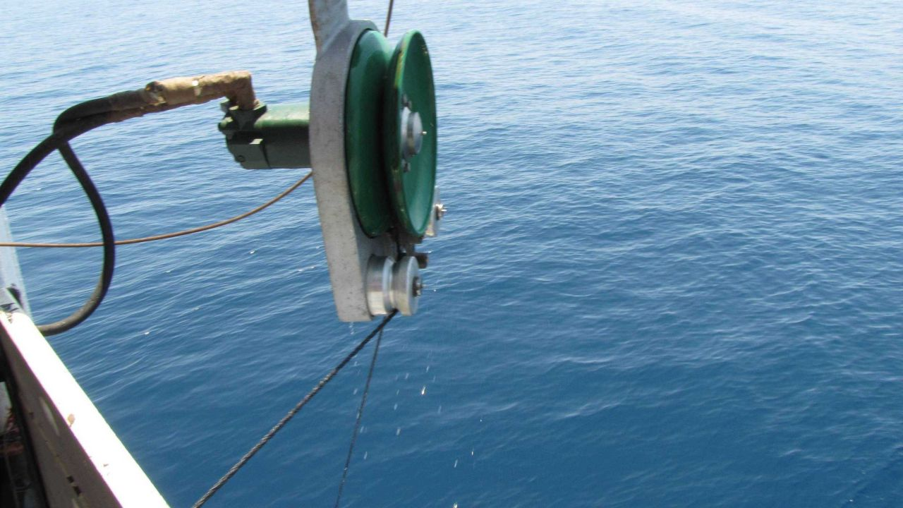 Power block in operation retrieving fish trap. Photo