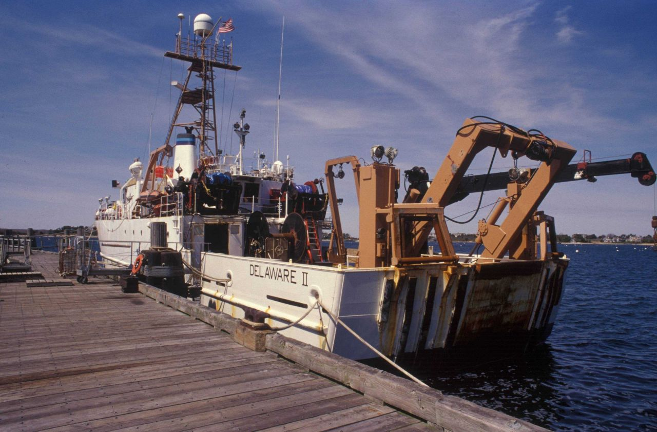 The NOAA Ship DELAWARE II tied up at Woods Hole. Photo