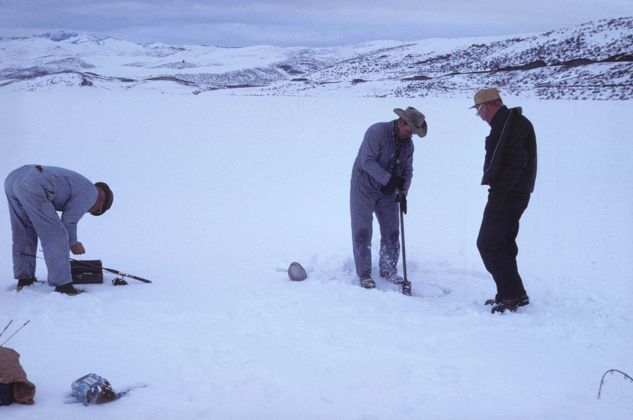 Winter ice fishermen at Spangler Reservoir Photo