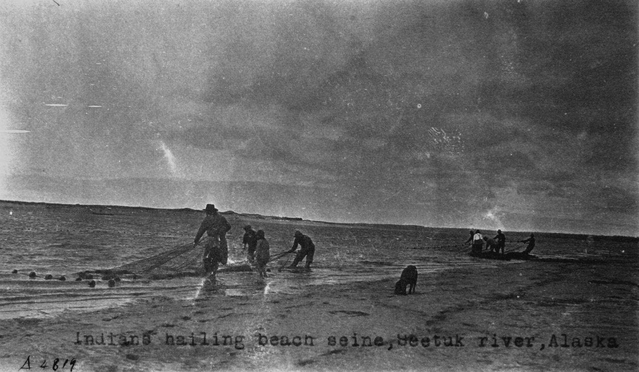 Indians hauling beach seine, Seetuk River, AK. Photo