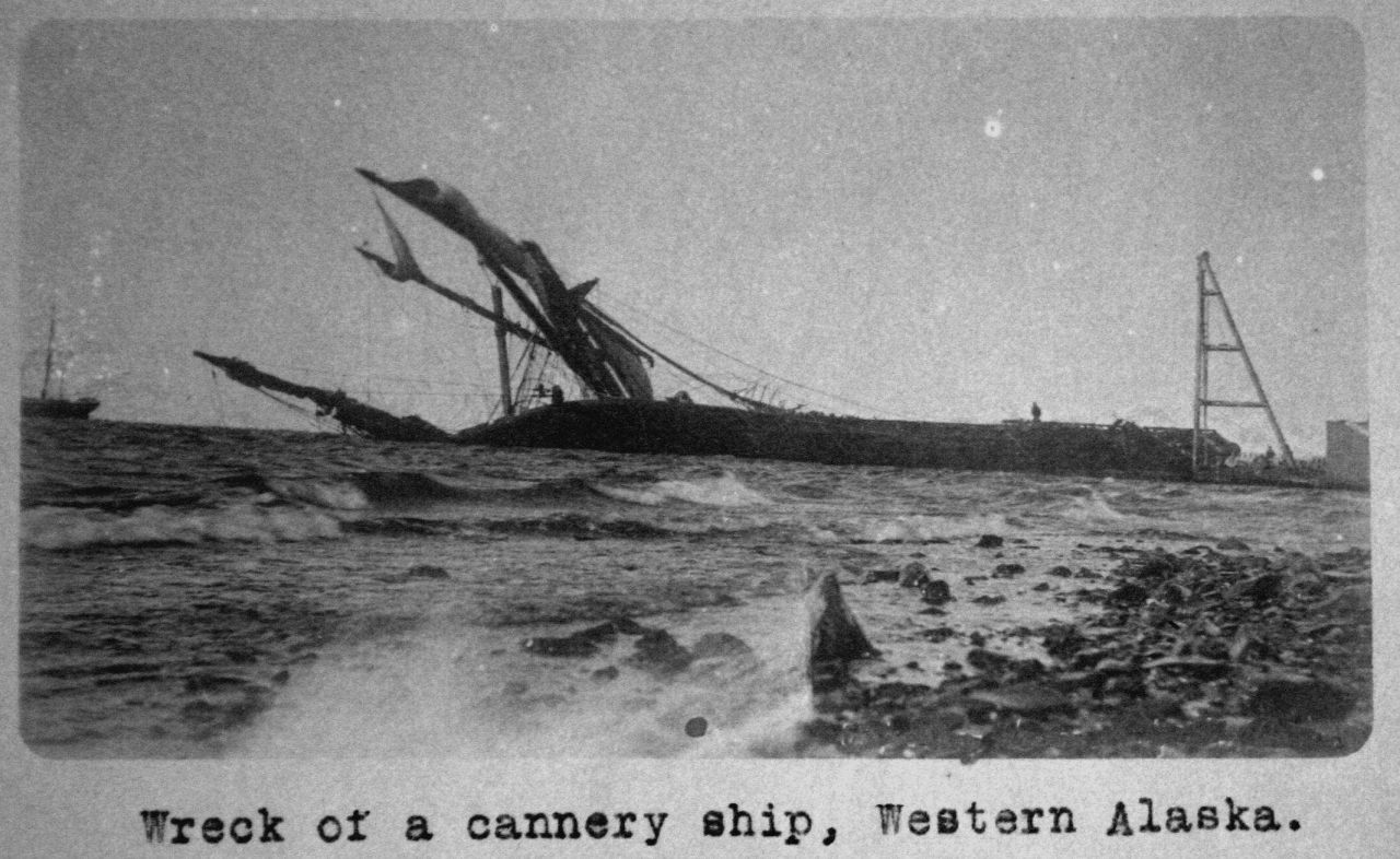 Wreck of a cannery ship, Western Alaska. Photo