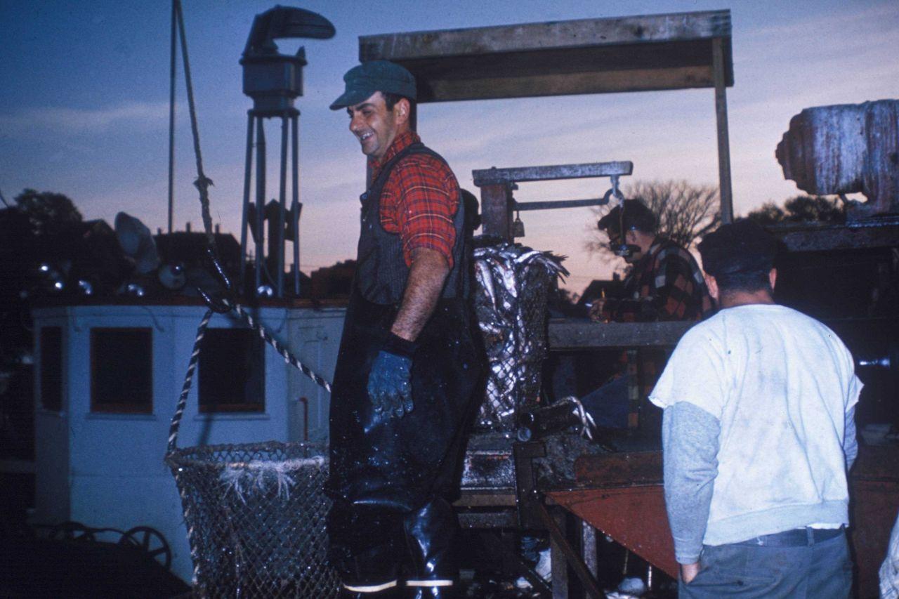 Captain of trawler at weighing platform. Photo