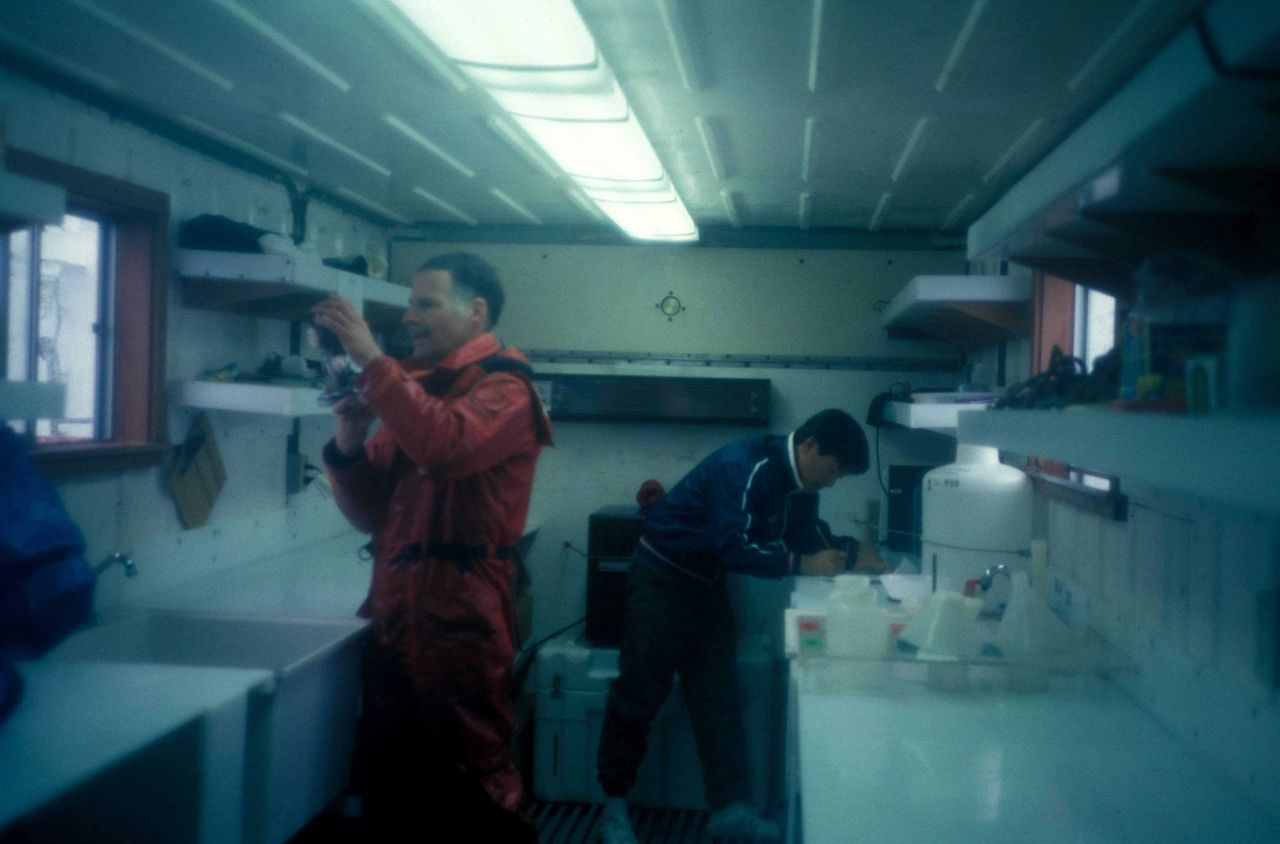AMLR Scientists prepare the brand new zooplankton sorting lab, built into a cargo container. Photo