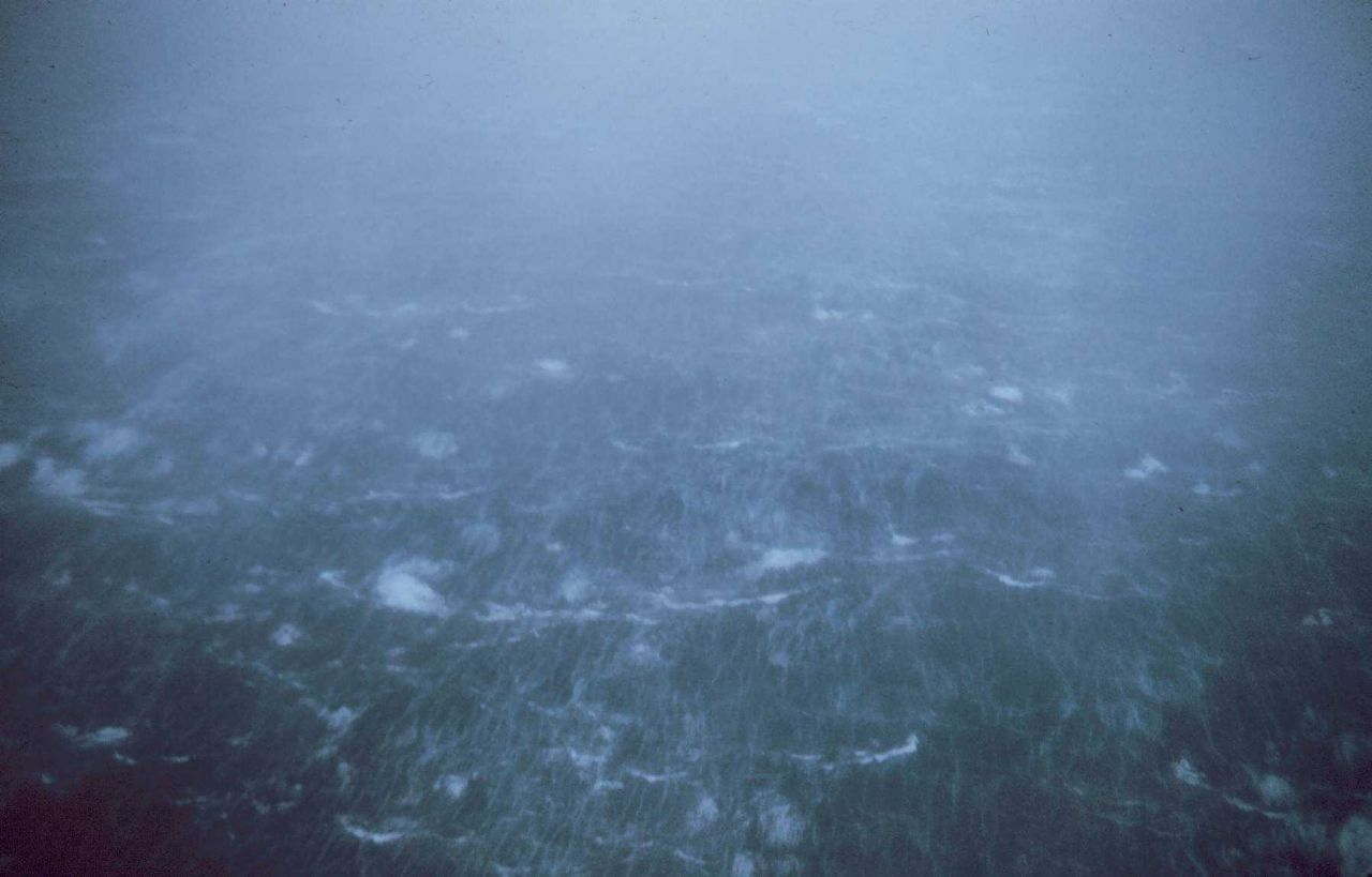 Sea surface as observed from 1500 feet in Typhoon Kerry. Photo