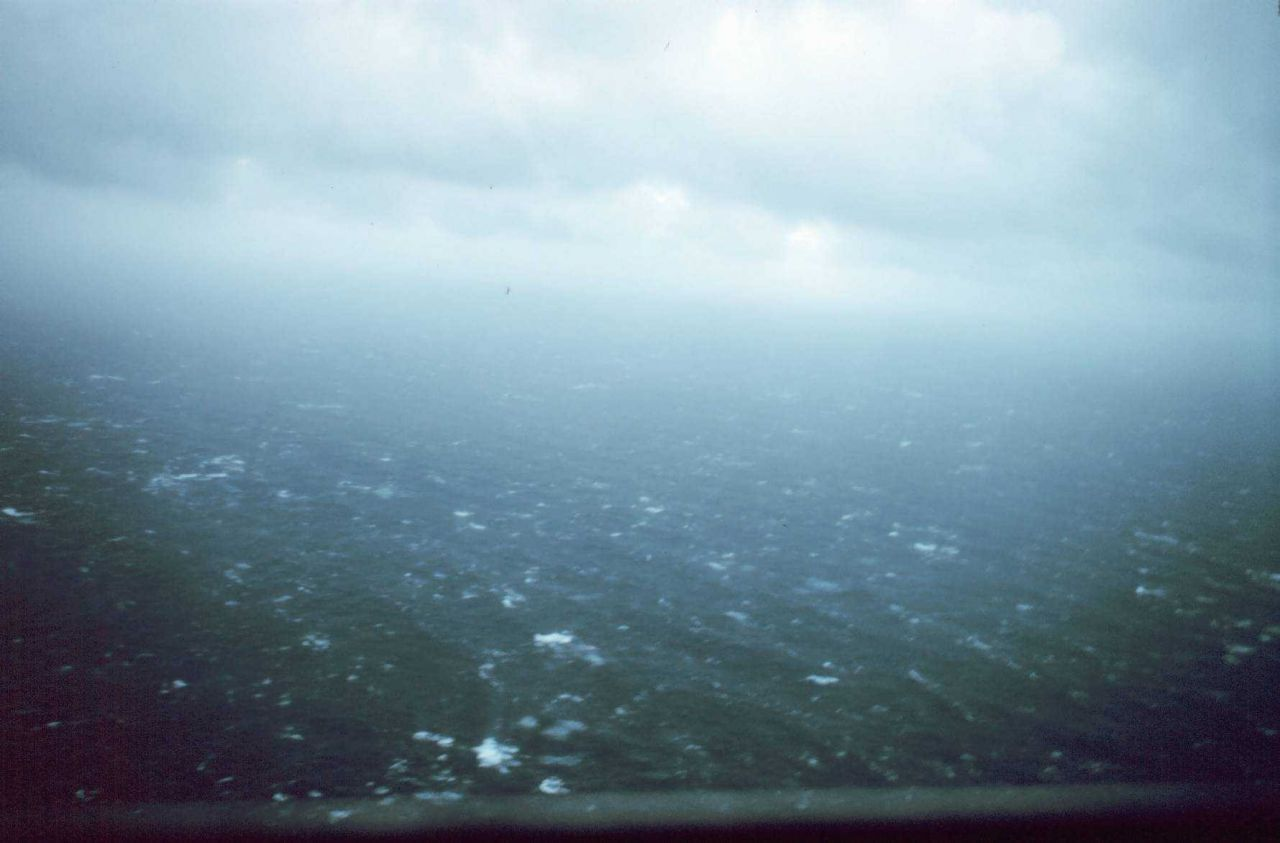 Winds at 50-60 knots as aircraft approaches storm center of Hurricane Eloise. Photo