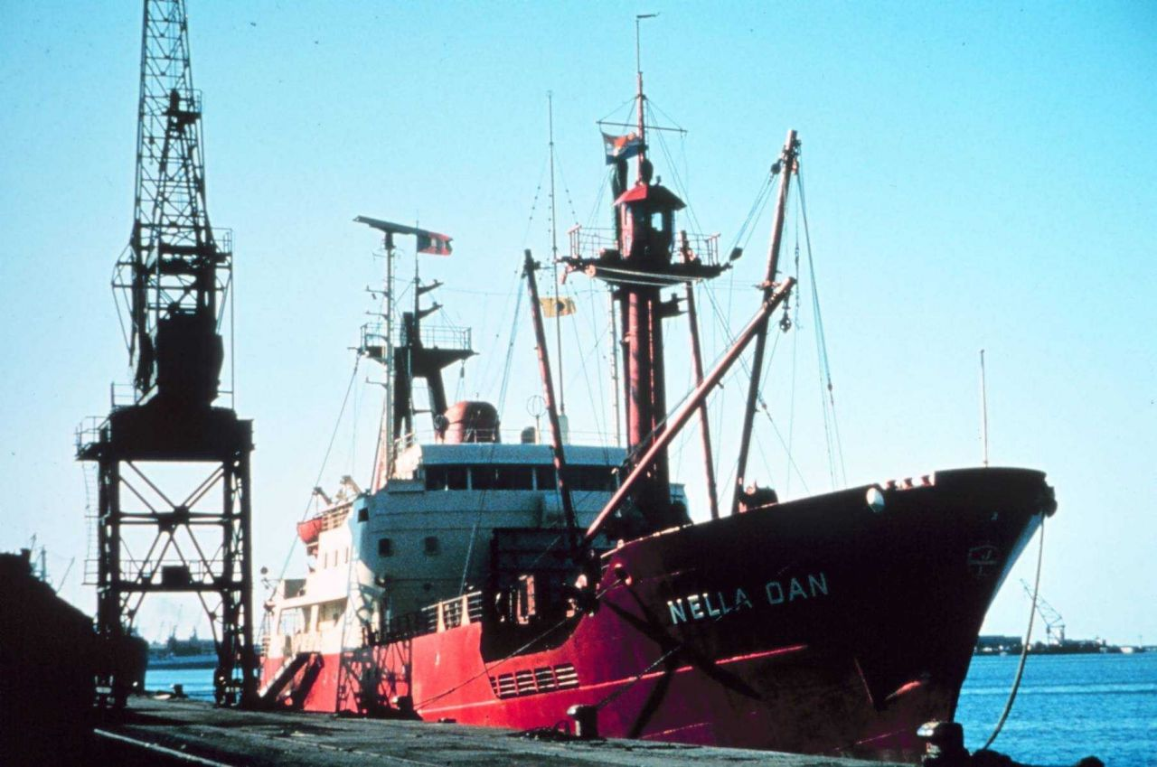 The NELLA DAN, a Danish ship, used by Australians to supply Antarctic stations and transport personnel back and forth. Photo