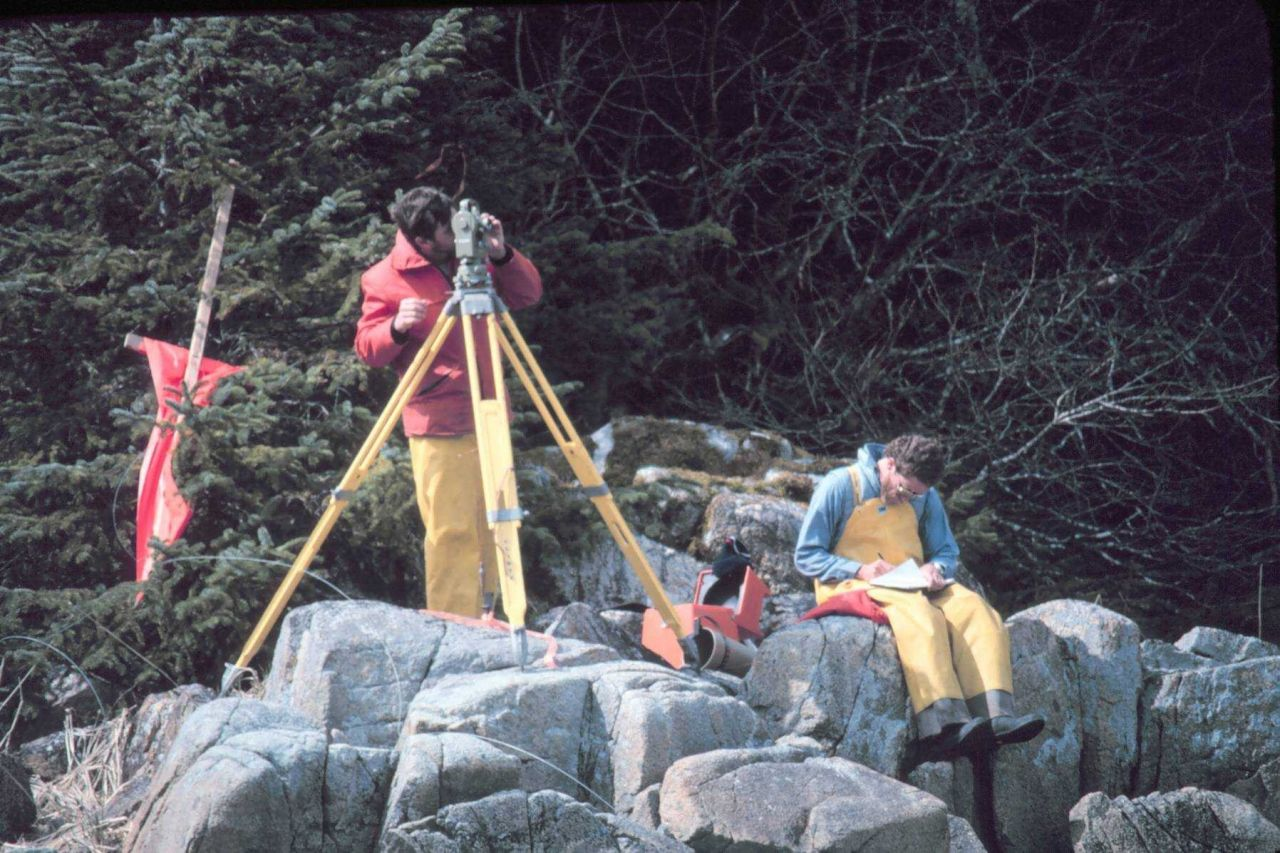 Ensign Craig Bailey and Seaman Surveyor Nick Piro observing horizontal angles. Photo