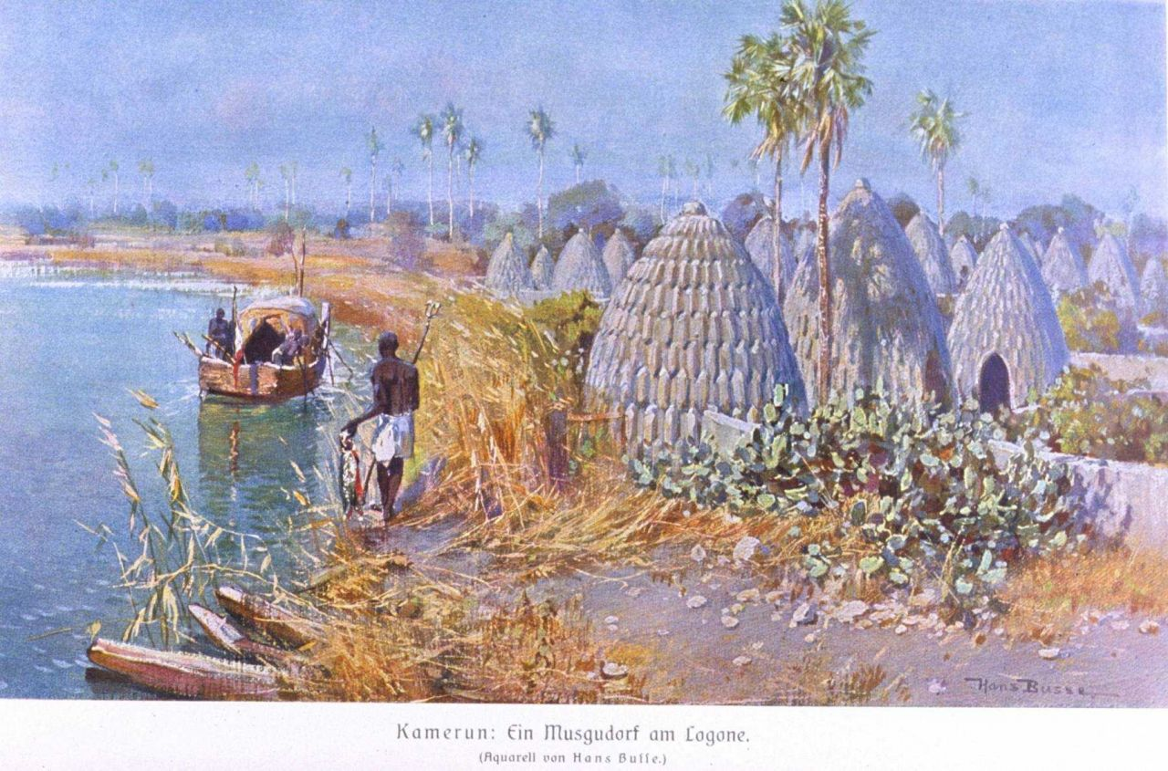 Cameroon German colony - a village on a lake Photo