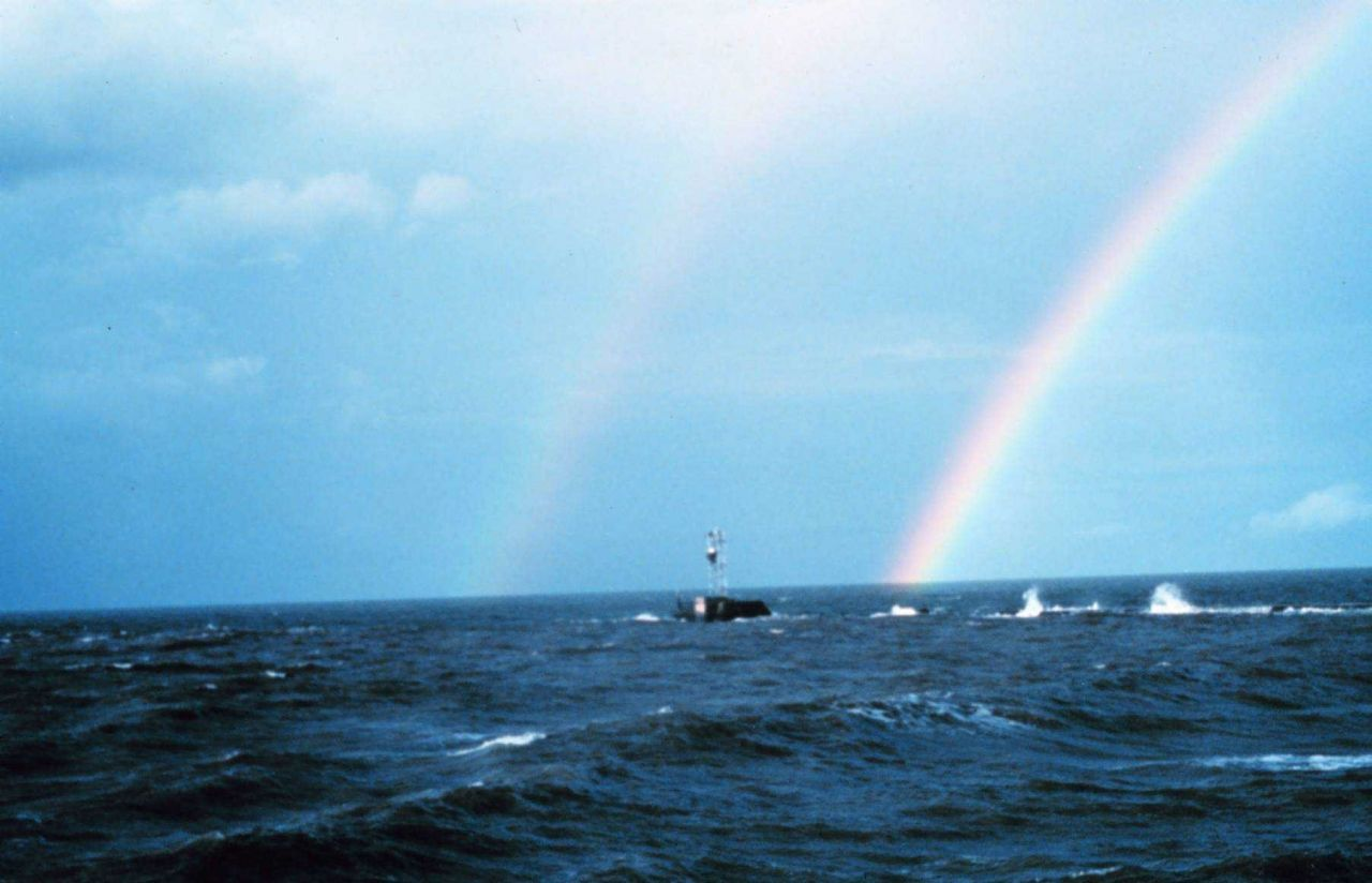 A double rainbow off the breakwater at the entrance to the Calcasieu River. Photo