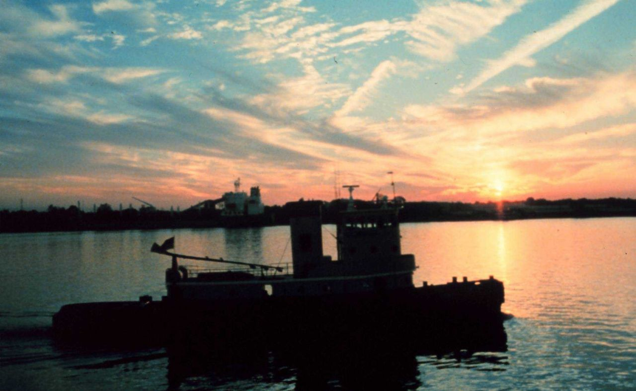 Sunset on the Mississippi River near downtown New Orleans. Photo