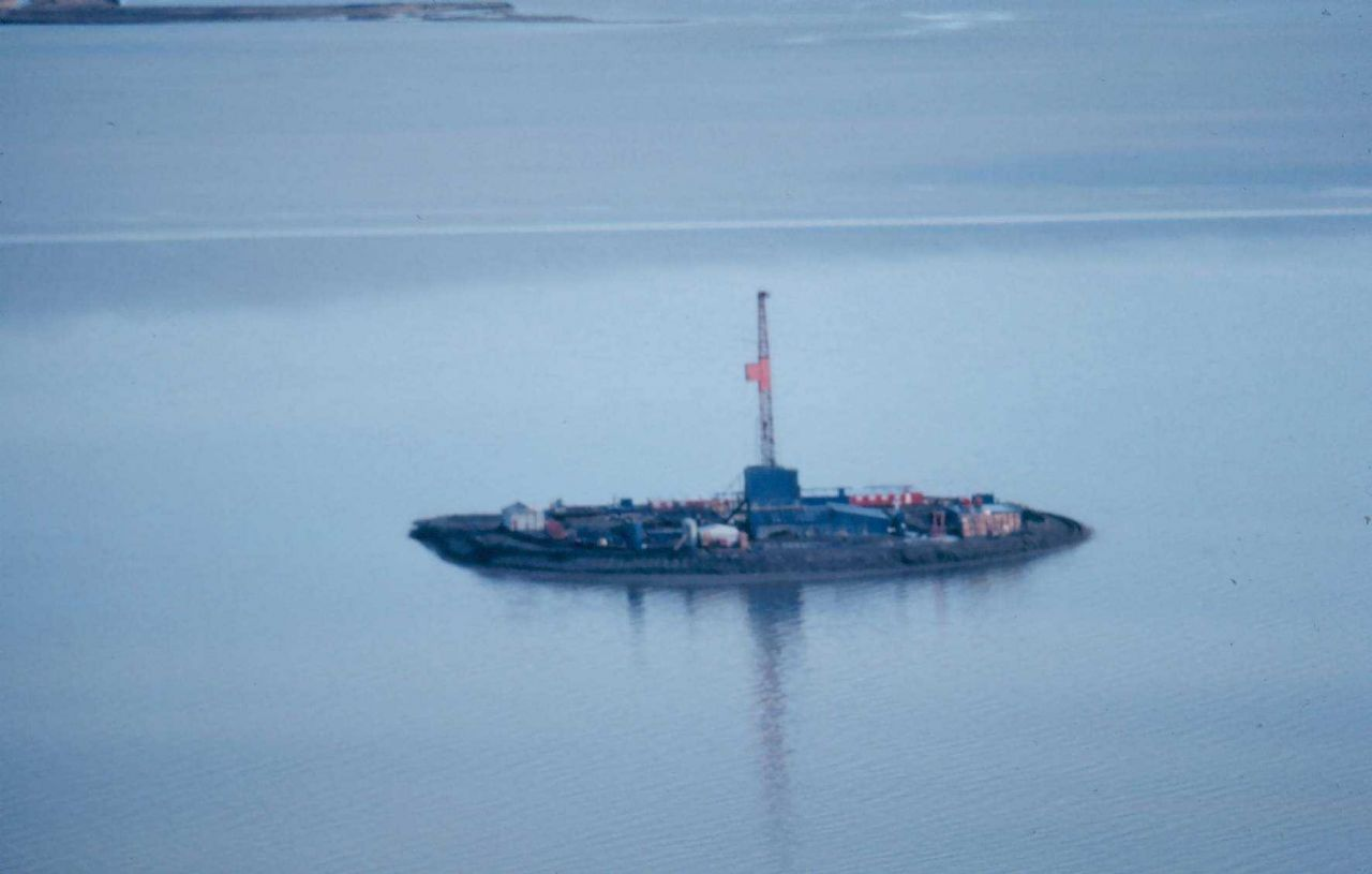 An offshore oil rig on an artificial island. Photo