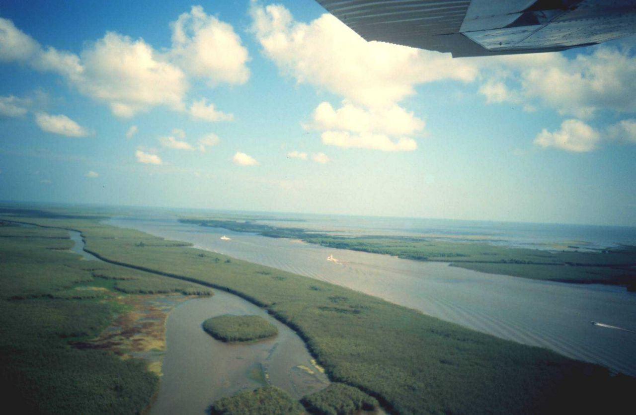 Flying over a stretch of the Intra-coastal Waterway. Photo