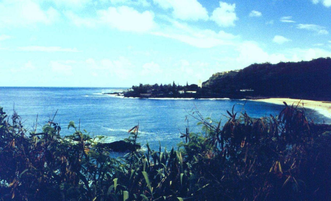 Waiamea Bay, the scene of huge winter surf. Photo