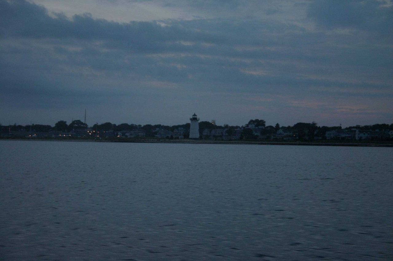 The lighthouse at Edgartown at dusk. Photo