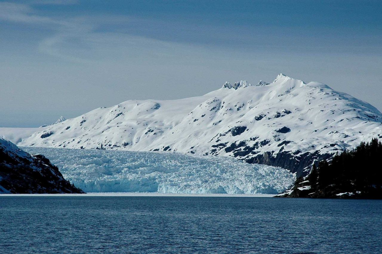 One of many glaciers entering the sea in Chugach National Forest. Photo