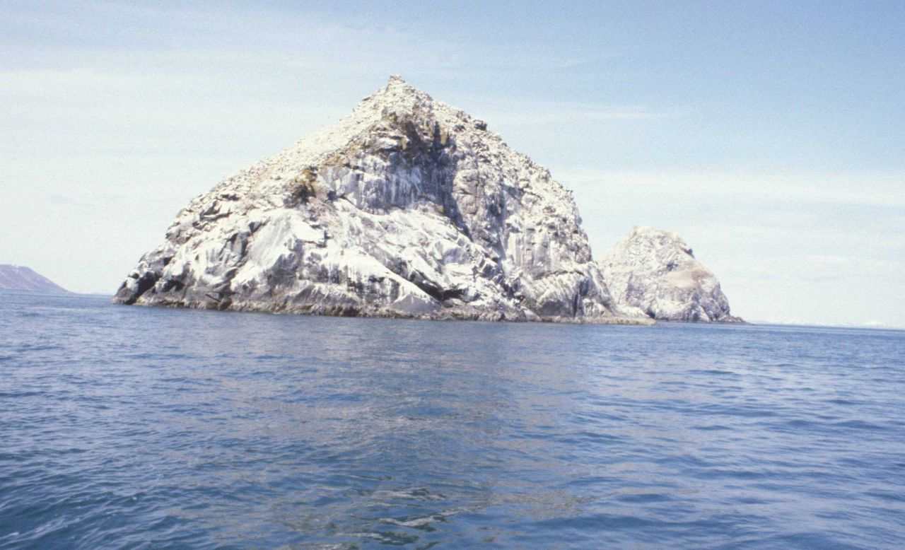 Offshore rocks covered with bird excrement Photo