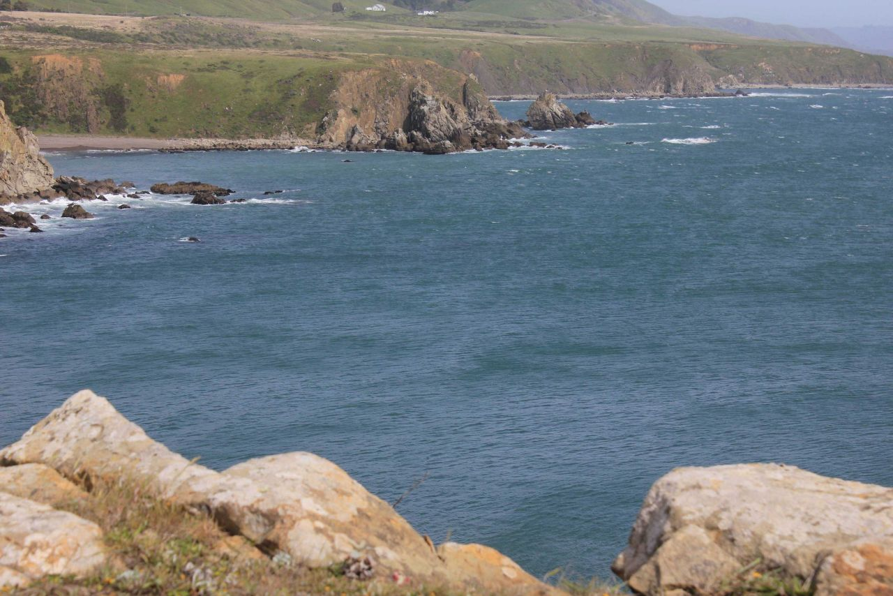 A view of the sea cliffs and Coast Range south of Fort Ross. Photo