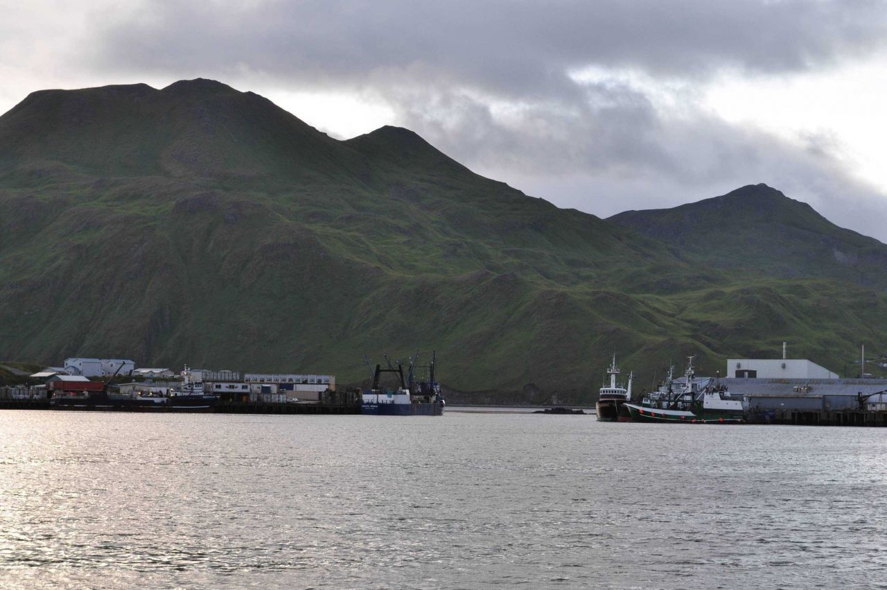 Fishing vessels tied up at Dutch Harbor. Photo