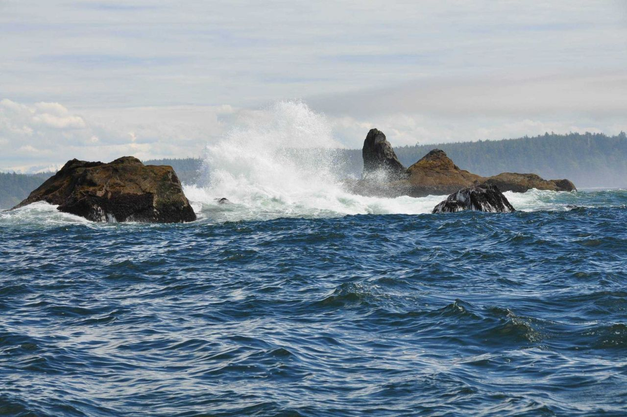 Offshore rocks and spray along the Olympic coast. Photo